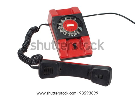 red retro phone isolated on a white background - stock photo