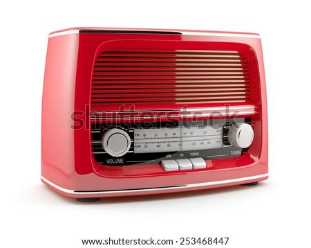 Red retro radio isolated on white background - stock photo
