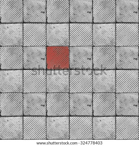 red ribbed tile on the floor and wall seamless tiled texture - stock photo