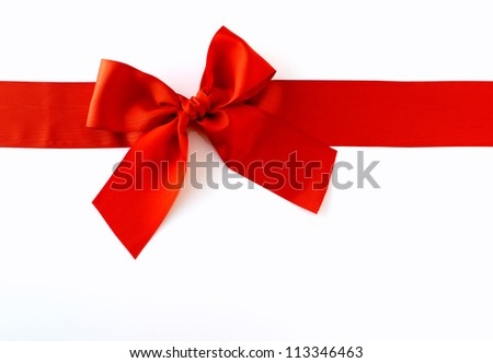 Red Ribbon against white background - stock photo