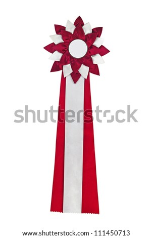 Red ribbon award. Rosette of red and silver satin fabric with a ribbon tail isolated on white - stock photo