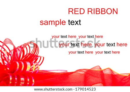 red ribbon background with copy space - stock photo