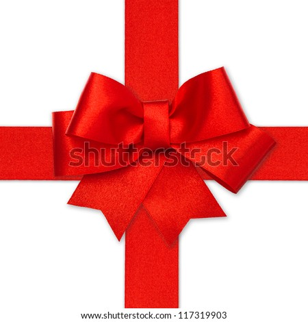 red ribbon bow isolated on white. holiday background. gift card concept - stock photo