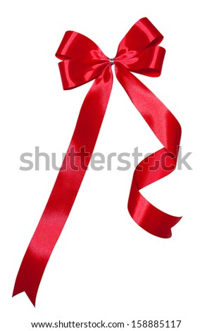 red ribbon bow with white isolated background - stock photo