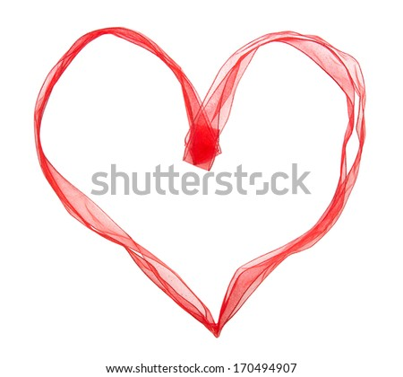 Red ribbon in the shape of heart on a white background. - stock photo
