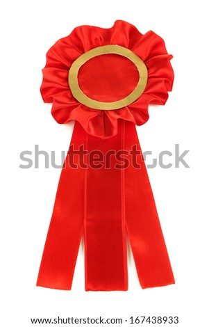 Red ribbon is symbol for success and  first prize, isolated on white - stock photo