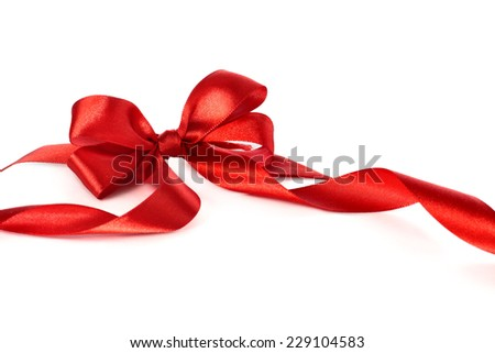 Red ribbon on a white background  - stock photo