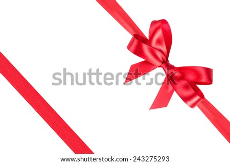 Red ribbon satin bow isolated on white background - stock photo