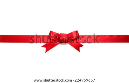 Red ribbon tie with very long ribbon extending on both sides. Isolated on white.  - stock photo