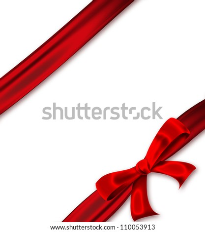red ribbon with a bow on a white background - stock photo