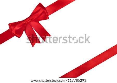 Red ribbon with bow isolated on white background. - stock photo