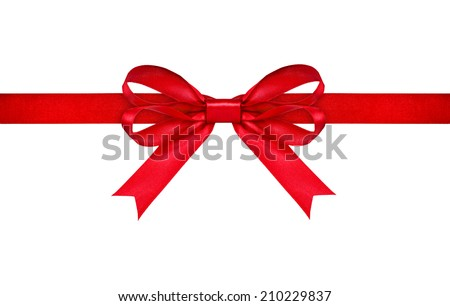 red ribbon with bow on isolated white background - stock photo