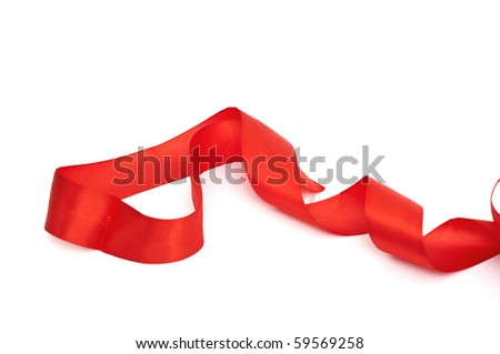 Red ribbons hanging down on white background - stock photo