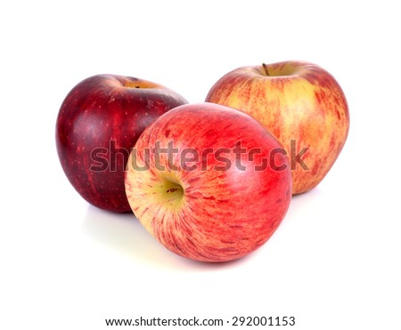 Red ripe apple on white background. - stock photo