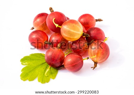 red ripe gooseberry with leaf isolated on white background - stock photo
