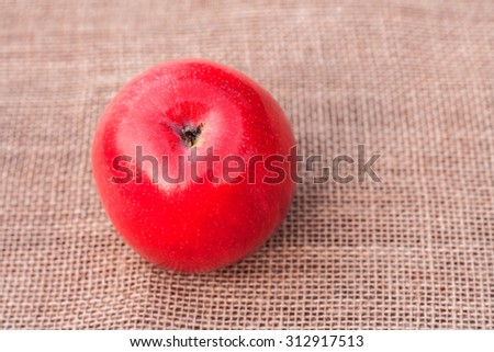 Red ripe juicy apple on sacking background - stock photo