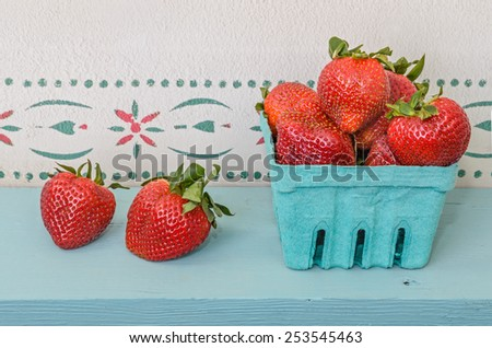Red Ripe Strawberries in Container - stock photo