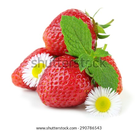 Red ripe strawberries, isolated on white - stock photo