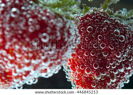 Red ripe strawberry with water bubbles, selective focus, macro - stock photo