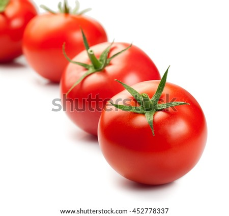 Red ripe tomatoes isolated on white background. Copy space - stock photo