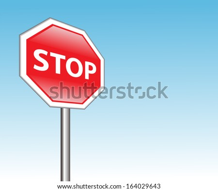 "red road sign ""stop"" on a background of blue sky  - stock photo"