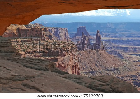Red Rock Arches and Buttes in Canyonlands National Park, Utah, USA  - stock photo