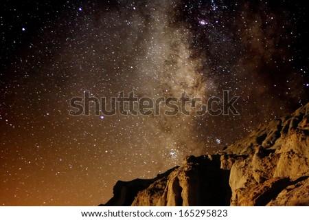 Red Rock Canyon 01 Milky Way Galaxy Mojave Desert California USA - stock photo