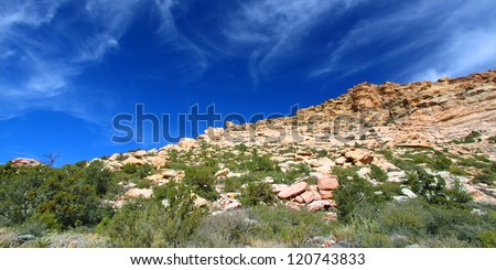 Red Rock Canyon National Conservation Area is located just west of Las Vegas in Nevada - stock photo