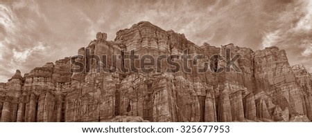 Red Rock Canyon on the 5 freeway california. The end of the Sierra nevada Range - stock photo