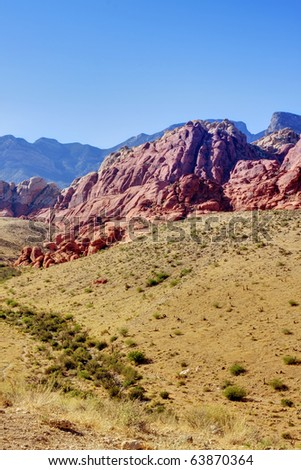 Red Rock Canyon Red Rock Canyon in Las Vegas, Nevada. Vertical - stock photo