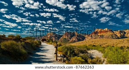 Red Rock Canyon's calico tanks and sandstone quarry trail head viewing wilson cliffs in background - stock photo