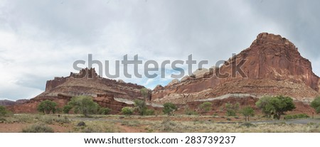 Red Rock formation Panorama - stock photo