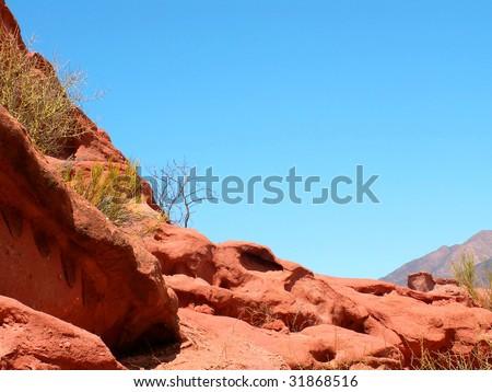 Red rock in Quebrada de Cafayate canyon, Argentina - stock photo