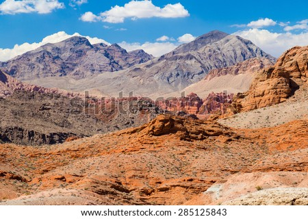 Red Rock Landscape with blue sky, Valley of Fire State Park, Nevada, USA - stock photo