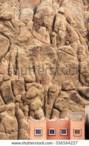Red rock limestone fingers in Dades Gorgem Morocco, Africa - stock photo
