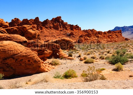 Red Rock Mountains in Valley of Fire State Park in Nevada - stock photo