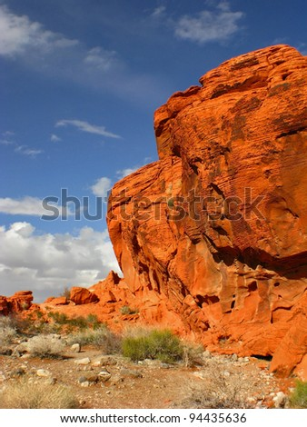Red rock outcrop at Valley of Fire State Park in Nevada, USA - stock photo