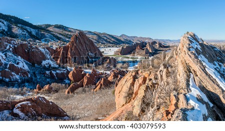 Red Rock Valley - Winter day overview of a red sandstone valley in Roxborough State Park, Denver-Littleton, Colorado, USA.  - stock photo