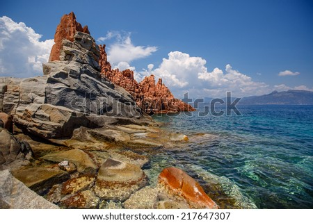 Red rocks and turquoise water of Arbatax, Sardinia - stock photo