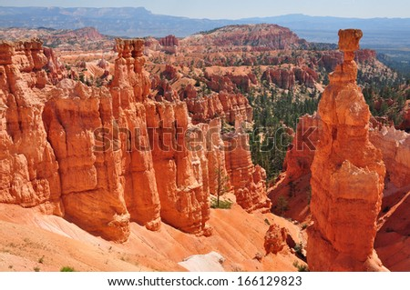 Red rocks in Bryce Canyon National Park Utah USA - stock photo