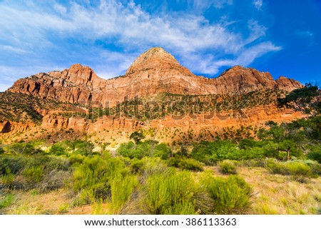 Red Rocks located in Zion National Park, USA - stock photo