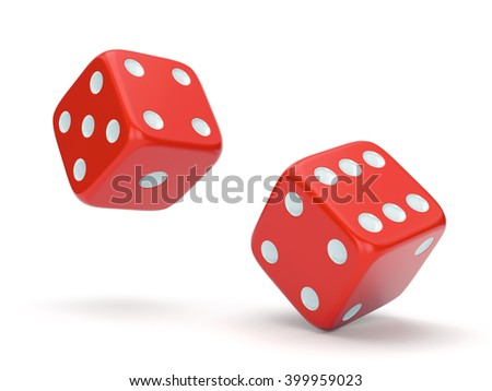 Red rolling dices isolated on white background. Gambling, board games, casino and luck concept. 3D illustration - stock photo