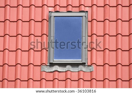 Red roof background with windows - stock photo