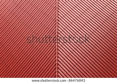 Red roof by diagonal pattern - stock photo