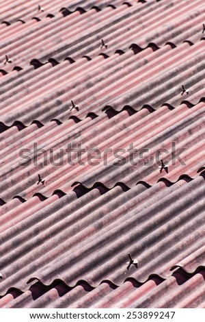 Red roof texture - stock photo