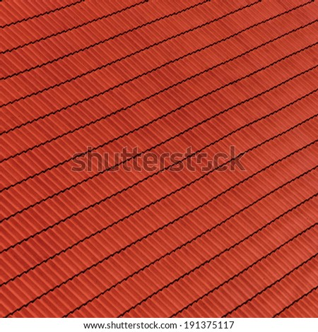 Red roof tile pattern (close up) - stock photo