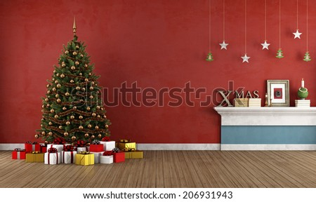 Red room with christmas tree and decoration -rendering - stock photo