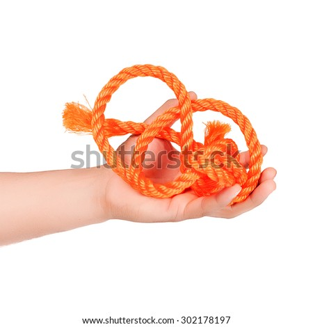 red rope became entangled in the hands isolated on white background - stock photo