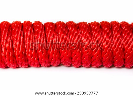 Red Rope  with a spiral Isolated On White Background . - stock photo