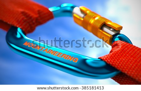 Red Ropes Connected by Blue Carabiner Hook with Text Mountaineering. Selective Focus. 3D Render. - stock photo